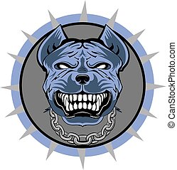 Pitbull stilisierte VECTOR Logo, blau.
