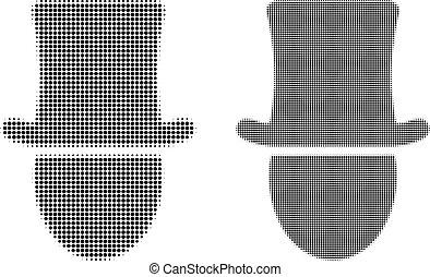pixel, halftone, mann, hut, ikone