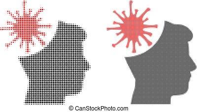 pixel, halftone, mann, wahnsinnig, coronavirus, ikone