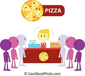 pizza, bankschalter, langer, warteschlange