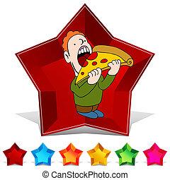 Pizza-Edelstein-Knopf-Set