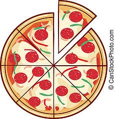 Pizza Illustration mit einem Stück.