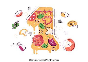 pizza, yummy, zählen, stück, dekoriert