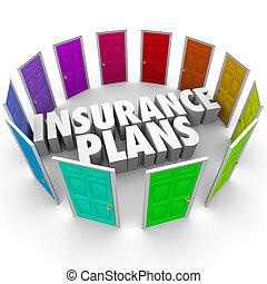 pläne, viele, wahlen, optionen, gesundheit, türen, versicherung, sorgfalt