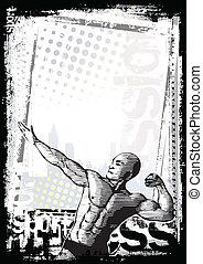 plakat, bodybuilder