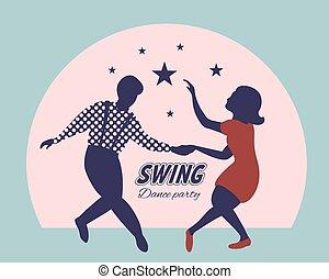 plakat, tanz, schwingen, party
