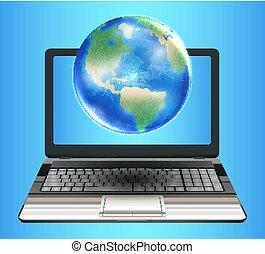 Planet Earth Globe schwebt auf dem Laptop-Computer.