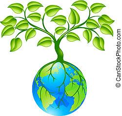 Planet Erde mit Baum