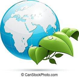 Planet Erde mit grünen Blättern Ökologie Symbol