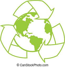 Planet Erde mit Recyclingsymbol