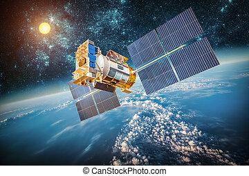 planet erde, satellit, aus, raum