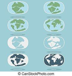 planet, heiligenbilder, stil, tektonisch, kontinente, earth., modern, platten, satz, infographics, wohnung