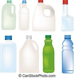 Plastikflaschenset Vektor.
