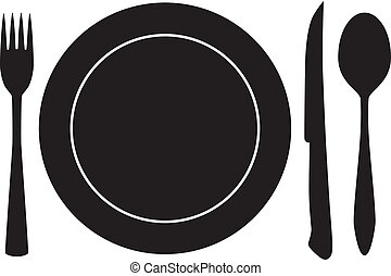 Plateful Fork Löffelmesservektor
