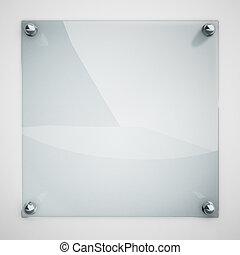 platte, befestigt, wand, metall, glas, schutz, rivets., weißes
