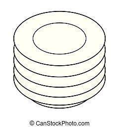 platten, abbildung, stapel, white., schwarz, vektor