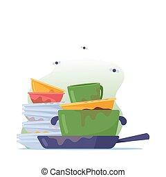 platten, geräte, geschirr, stinkende, dreckige , waschen, pfanne, haufen , küchengeschirr, geschirr, becher, unhygienisch, oder, stapel, braten
