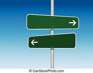 Platzieren Sie zwei Richtungsschilder.