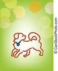 Playful Dog, Line Art, Vektor.