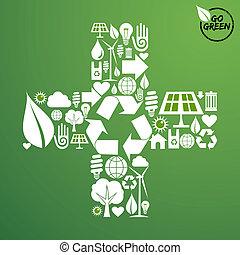 Plus Form mit grünen Ikonen Hintergrund