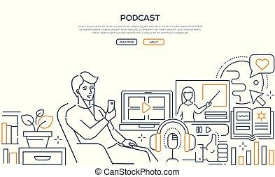Podcast - moderne Line Design Web Banner