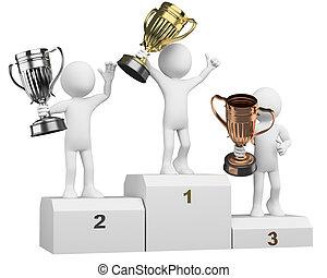 podium, gewinner, athleten, 3d