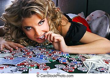 Poker und Mädchen