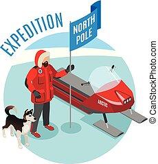 Polarexpedition isometrische Zusammensetzung.