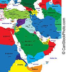 Politische Karte im Nahen Osten