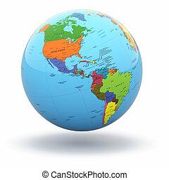 Politische Weltkugel mit weißem Hintergrund. 3D