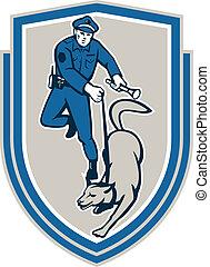 Polizeibeamter mit Hundeschlangenretro.