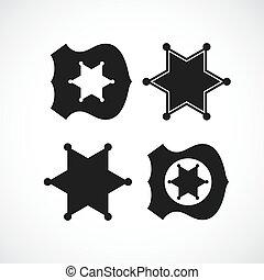 polizist, sheriff marke, design, oder