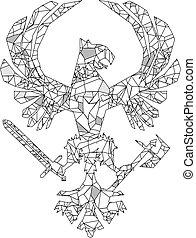 polygonal, ritterwappen, adler, emblem, t�towierung