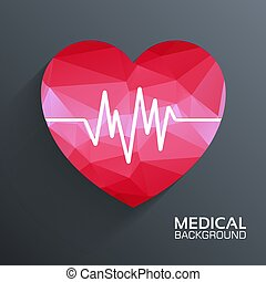 Polygonale medizinische Herz-Vektor-Hintergrundkonzept. Illustration Vorlage für Web und Handy