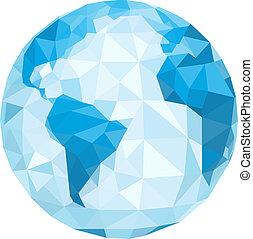 Polygonaler Globus. Vektor Illustration