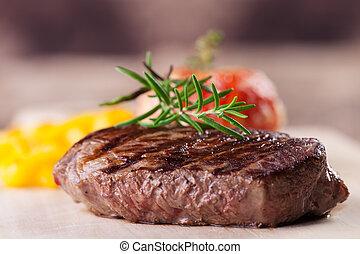 pommes, fleischtomaten, gegrillt, steak