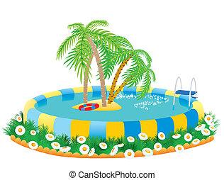 Pool und tropische Insel