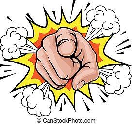 Pop Art zeigt Zeichentrick-Hand.