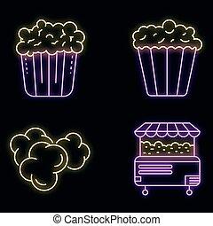 popcorn, satz, vektor, neon, heiligenbilder