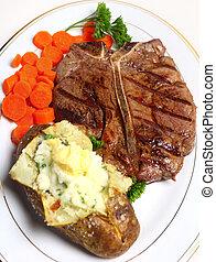 Porterhouse-Steak-Menü, oberer Ausblick