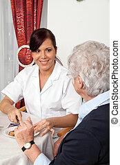 portion, älter, fruehstueck, krankenschwester, bürger