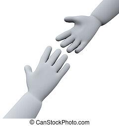 portion, 3d, hände