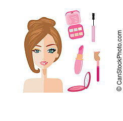 Porträt der Frau, halb natürlich, halb mit Make-up und Retuschiert.
