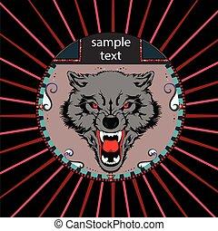 Porträt eines Wolfes im Kreis