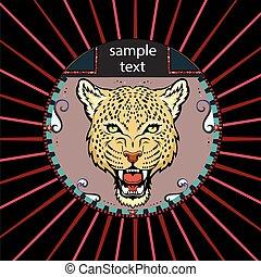 porträt, leopard, kreis