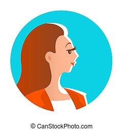 porträt, profil, junge frau