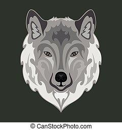 porträt, stoff, outwear., logo, dieser, nett, sein, t-shirt, würden, machen, wolf., abbildung, wand, oder, bunte, stilisiert, design, abstrakt, segeltuch., zeichnung, t�towierung, gezeichnet, hand druck, dekor, vektor