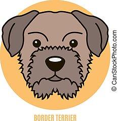porträt, vektor, umrandungen, abbildung, terrier.