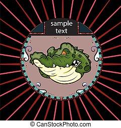 Portrait des Alligators im Kreis.