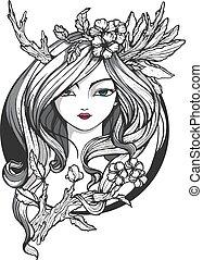 Portrait des jungen Mädchens mit Blumen und stilisierten Hörnern. Illustration für Tätowierung, Kunst oder T-Shirt-Druck.